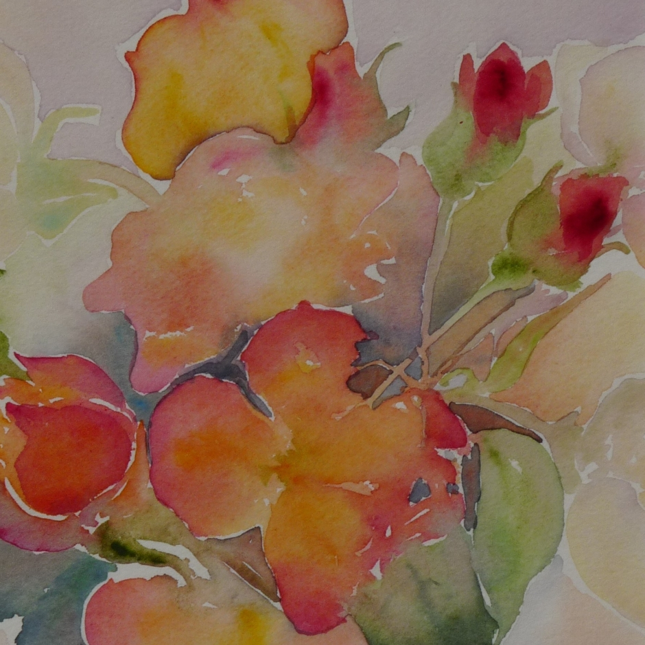 watercolour painting roses flowers sunshine coast artist gibsons BC