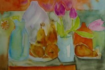 original watercolour still-life framed painting on 140 pound cold press paper